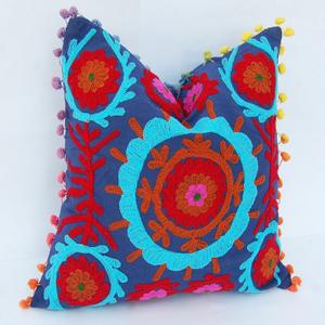 Indian Uzbek Suzani Embroidered Cushion Cover Square Decorative Pillow 16X16