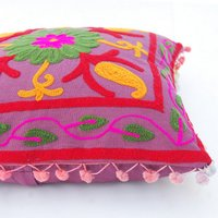 Suzani Work Embroidered Square Cushion Cover Cases With Pom Pom Lace