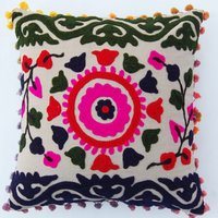 Cushion Cover Indian Traditional Suzani Embroidered Pillow Home Decor
