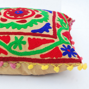 Suzani Embroidered Cushion Cover Ethnic Boho Pillow Case Decorative Throw Pillow