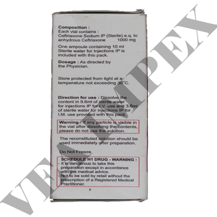 Spectacef 1000 mg(Ceftriaxone Injection)