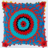 Vintage Uzbek Suzani Cushion Cover Indian Embroidered Decorative Throw Pillow