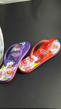 Ladies multi colour printed slipper