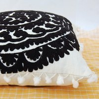 Indian Suzani Cushion Cover Cotton Embroidered Pillows Ethnic Shams Boho