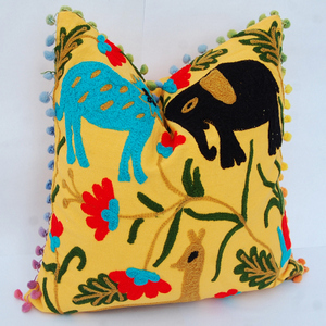 Pom- Pom Suzani Pillow Cover Indian Cushion Cover Embroidered