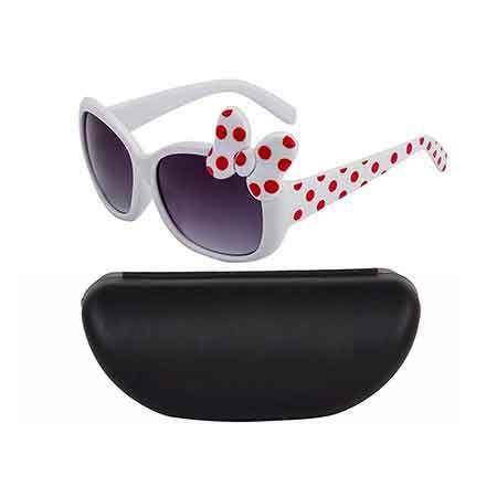 Kidofash Cute Bow Design Sunglasses With Hard Case -White