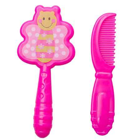 Kidofash Set of Baby Hair Comb and Hair Brush - Pink