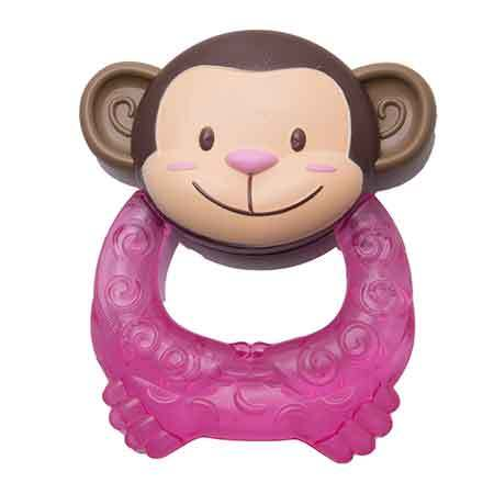 Kidofash Monkey Design Silicon Teether for Babies - Pink