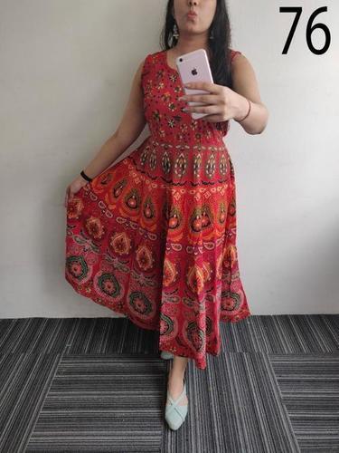 Cotton Printed Jaipuri Midi Dress