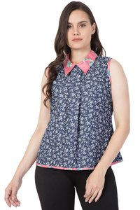 Mythya Womens Denim Floral Printed Top