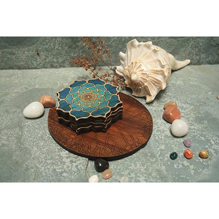 Wooden Lotus Design Tea Coaster