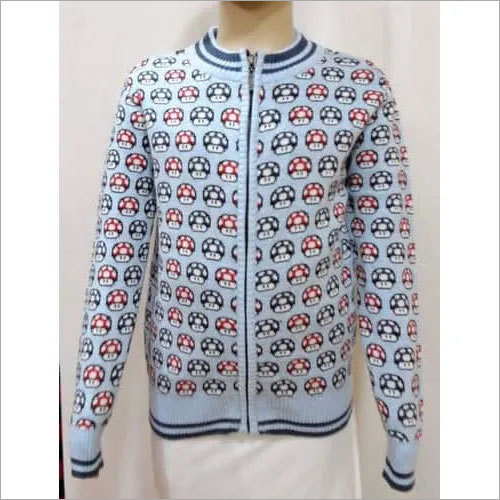 Boy Kid Zipper Jacquard Sweater