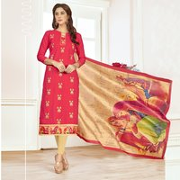 Unstitched Dress Material With Printed Bangalori Silk Dupatta