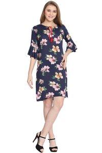 Mythya Blue Floral Printed Shift Dress For Women