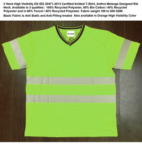V Neck High Visibility Certified T-Shirt