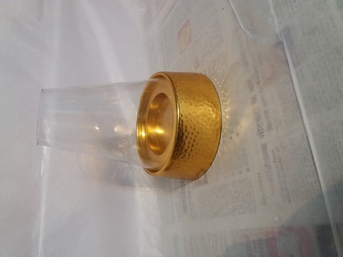 Hammered votive with glass gold
