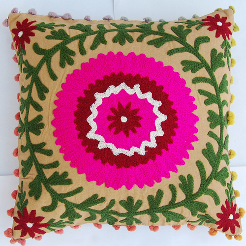 INDIAN EMBROIDERED CUSHION COVER SUZANI SOFA PILLOW CASE HOME DECOR 16