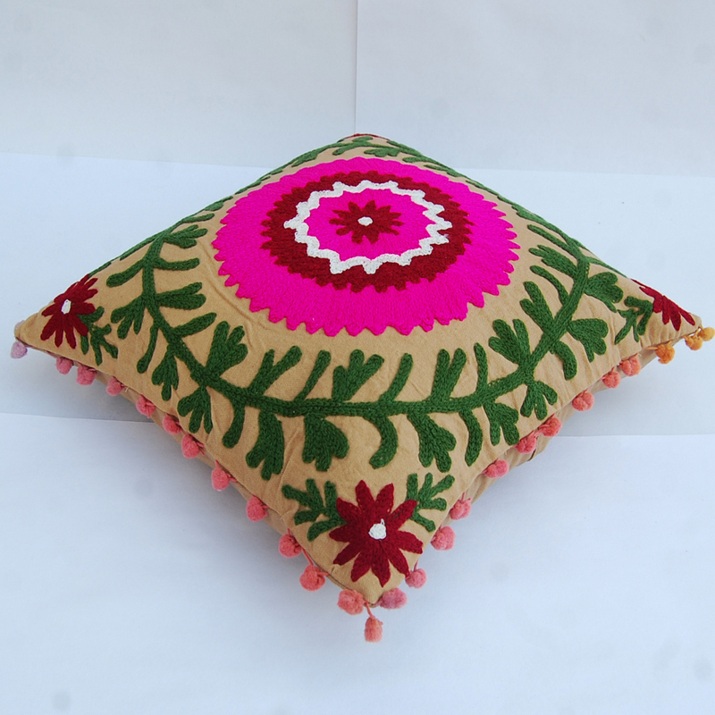 Indian Embroidered Cushion Cover Suzani Sofa Pillow Case