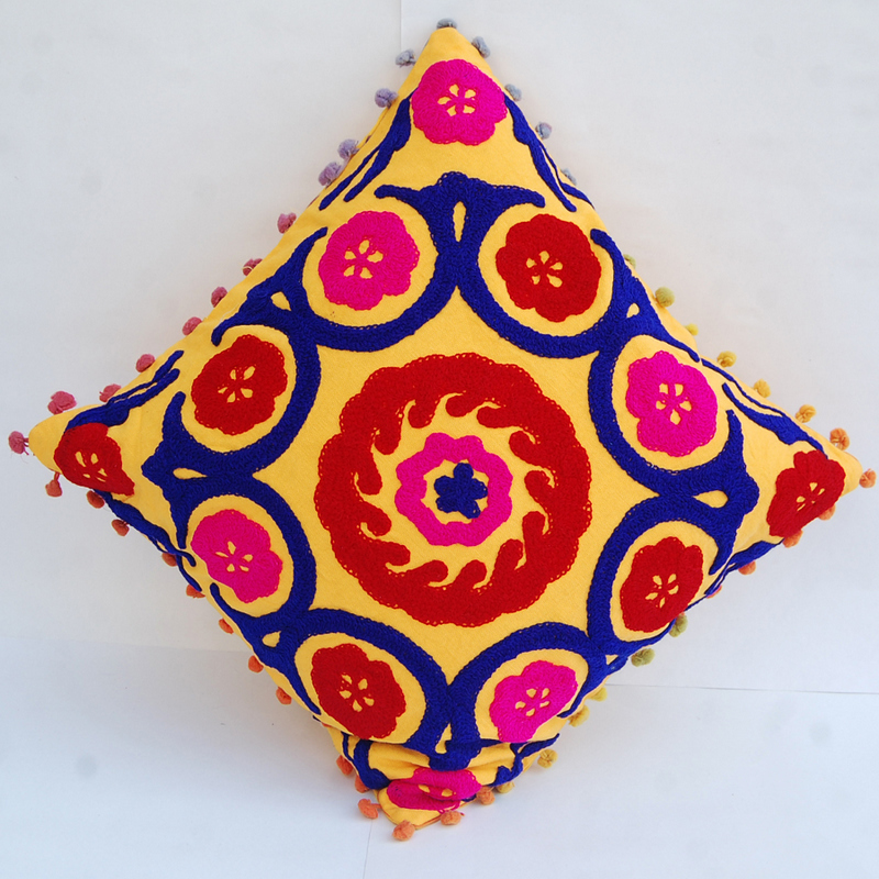 Traditional Mandala Embroidered Suzani Cushion Cover Decorative Pillow cases