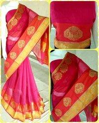 Pink Designer Mainpuri Silk Saree