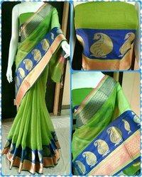 Green Designer Mainpuri Silk Saree