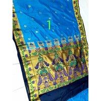 Art semi paithani bonga silk with peacock pallu