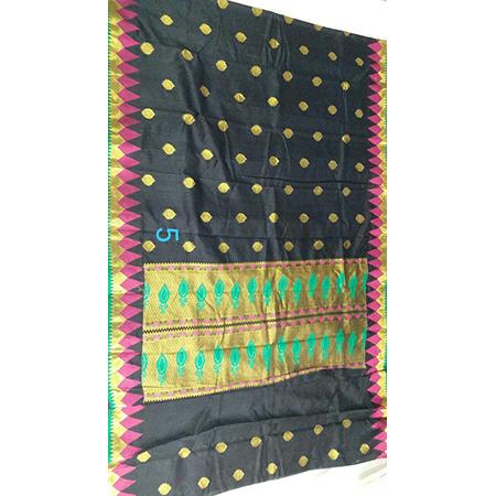 Art semi paithani bonga silk temple meena border