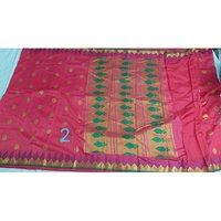 Art semi paithani bonga silk temple meena border