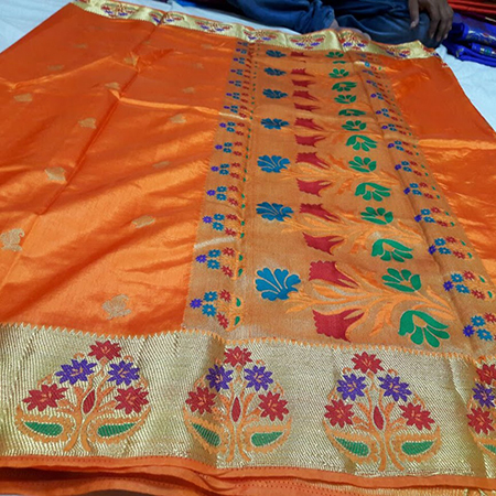 Art semi paithani flower border rich pallu with running plain blouse