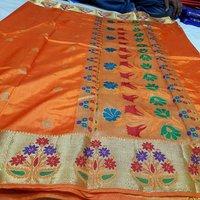 Art semi paithani flower border rich pallu with running plain blouse