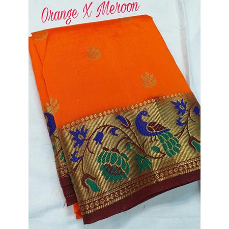 Art silk semi Paithani peacock pallu with contarst running blouse