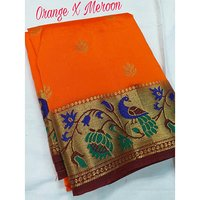Art silk semi Paithani peacock pallu with contarst running blouse