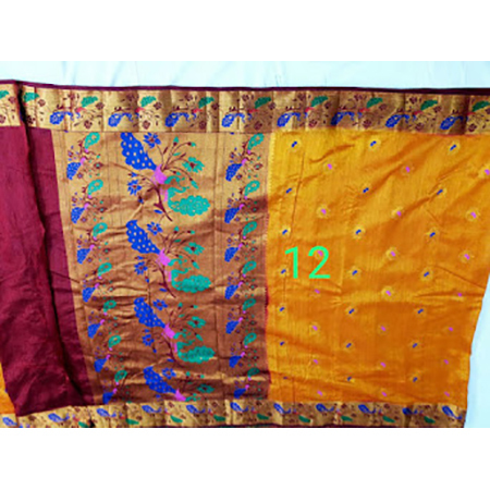 Art semi paithani bonga silk with peacock pallu