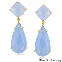 Beautiful Blue Chalcedony Prong Set Gemstone Drop Earring - Gold Plated Earrings For Women