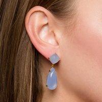 Beautiful Blue Chalcedony Prong Set Gemstone Drop Earring - Gold Plated Earrings For Women