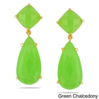 Green Chalcedony Prong Set Gemstone Drop Set Earring - Gold Plated Earrings For Women