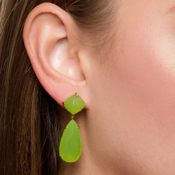 Green Chalcedony Prong Set Gemstone Drop Set Earring - Gold Plated Earrings For Women