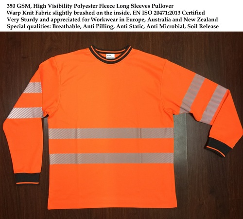350 GSM High Visibility Polyester Fleece LS Pullover