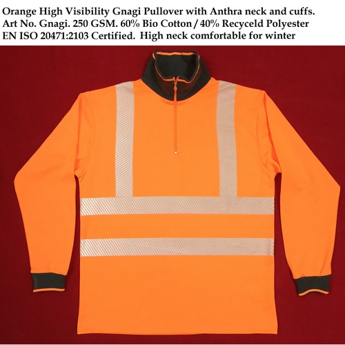 Orange High Visibility Gnagi Pullover with Anthra neck and cuffs
