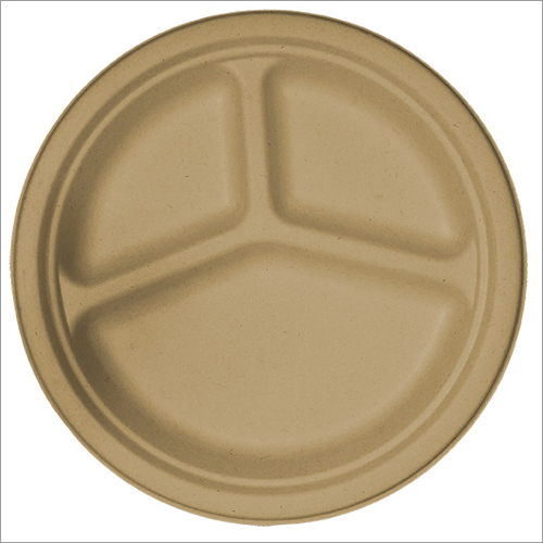 Three Partition Biodegradable Plates