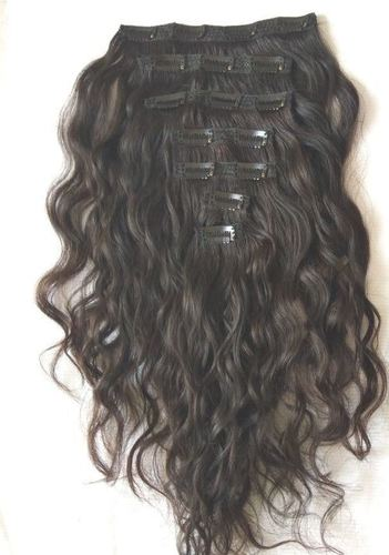 Raw Wavy clip in wavy Human Hair