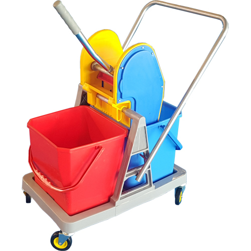 Double Bucket Mop Wringer Trolley 36L