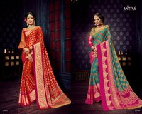 Zari Border Batik Print Cotton Sarees