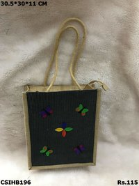 Jute Butterfly Tote Bag