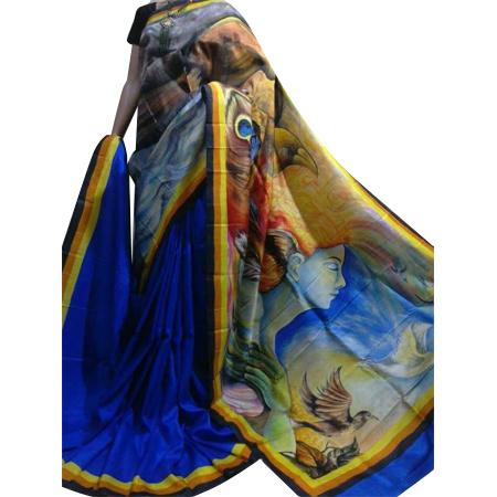 Designer Blue Cotton Sarees