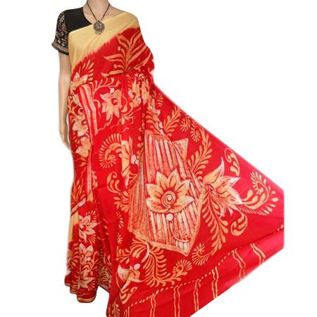 Designer Red Cotton Sarees