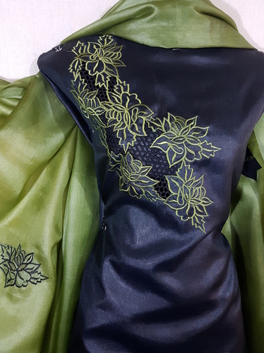 Pure Tussar Silk Cut Work Dress Material
