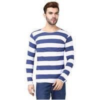 Mens Full Sleeves Round Neck Striped 100% Cotton T-shirt__