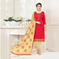 Designer Plain Cotton Jacquard Salwar Suit