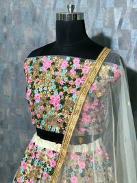 New  Designer White Full Worked Lehenga